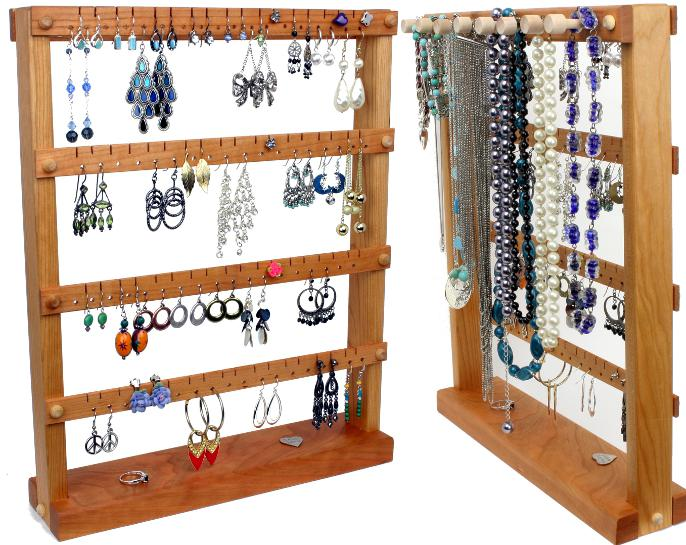 Medium Cherry Earring Holder with Necklace Rack